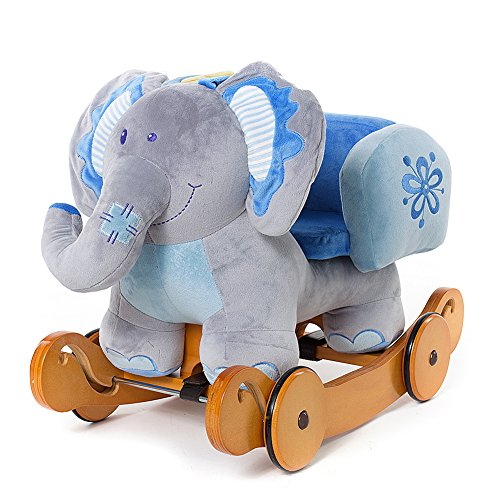 51L0Eackd2L BEST BUY UK #1Labebe Baby Wooden Rocking Horse 2 in 1 Blue Elephant, Kids Rocking Ride on Toys for 6 Months to 3 Years Old Baby Boys and Baby Girls, Dual Use as Stroller, ASTM Safety Certified price Reviews uk