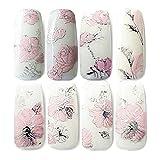 Nicedeal 3D per Nail Art – 2 fogli adesivi nail art decalcomanie decorazioni fai da te di trasferimento dell' acqua per la cura delle unghie (rosa) Nail Art and Tools Home Bellezza