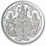 BIS HALLMARKED 999 Purity. Ganesha + Lakshmi + Saraswati Weight 10 grams. Express Delivery. Item Location: Mumbai. Silver Coin Ganesha + Lakshmi + Saraswati on one side and Reverse side of Coin OM.Purity 999. Weight 10 grams. Diameter 32 mm.