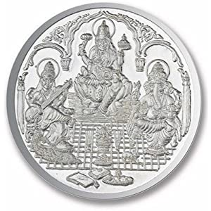 Ananth Jewels BIS Hallmarked 990 Purity Ganesha, Lakshmi and Saraswati Silver Coin (10G)