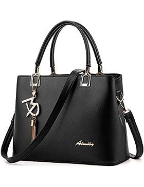 (G-AVERIL) Damen Klassische Handtasche Winged Schultertasche Groß Umhängetasche Taschen