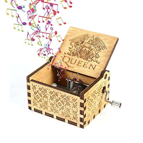 Descripción del producto: Nuestra caja de música de madera tiene un delicado y compacto patrón antiguo de la caja. Sacudir el mango, la música puede fluir a través del mecanismo de 18 notas de la esfera, la melodía es hermosa. La caja de música no so...