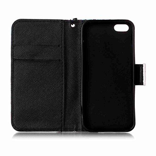 Owbb Fille dansante PU cuir Housse de protection coque pour iPhone 5 / 5S / 5G / SE étui cover case Color 04