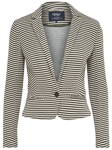 ONLY Damen Sweat-Blazer Jacke LEX L/S BLAZER SWT kurz mit Streifen (XS, weiß/grün (Whisper White Stripes: Grape Leaf))