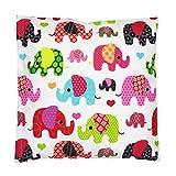 TupTam Kissenbezug Dekorative Kissenhülle Reißverschluss Dekokissen Baumwolle Eulen Elefant Sterne Feuerwehr Polizei, Farbe: Elefant Rosa, Größe: 40 x 40 cm