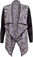 Womens Long Sleeve Ladies Stretch Wet Look Wrapover Waterfall PVC PU Trim Open Cardigan Jacket Coat