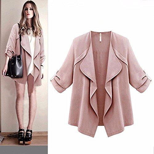 ffene Strickjacke Mantel Plus Größen Lange Hülsen Unregelmäßige Jacke (Rosa, L) ()