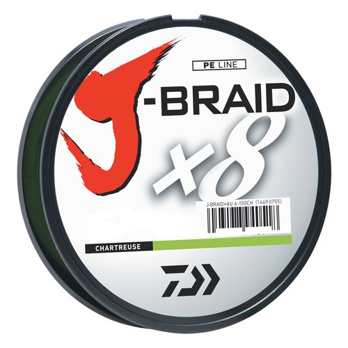 Daiwa J-Braid 300M 8-Fach geflochtene runde Flechtschnur, Unisex-Erwachsene, JB8U8-300CH, Hellgrün, 8 lb