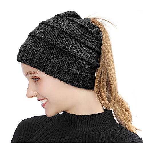 Tusscle Bonnet d'hiver Chapeau Unisexe Bonnet Tricoté de Ski Slouch Chaud Beanie de Crâne pour Plein Air et Quotidien et Femme Homme (Noir-Queue de Cheval Bonnet)