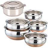 "Sonigram Cookware Combo - Serving HANDI 5 Pcs. Set - Round Bottom - 550ml, 750ml, 1250ml, 1900ml, 2500ml. ""Premium Quality - Stainless Steel - EXPORT QUALITY Copper Bottom - With - Bravo Stainless Steel Hotpot Casserole - 2500ml"