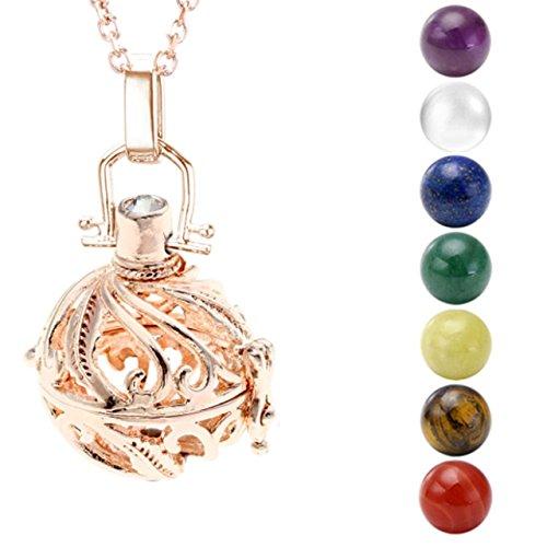 Oro scheda xfolgi jovivi visitatore di angelo ciondolo angelo squllla schwa borraccia della collana 7 x Ø 16 mm pietra sfere con 80 cm catena