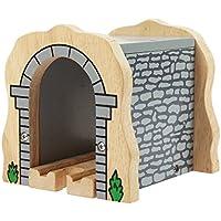 Bigjigs Rail Túnel de piedra gris con raíles (compatible con las principales marcas de raíles de madera)