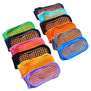 LIOOBO 12 Paar rutschfeste Fußbodensocken atmungsaktive Sohlen die Socken für Yoga-Socken für Erwachsene Männer Frauen Vergnügungspark Requisiten abgeben