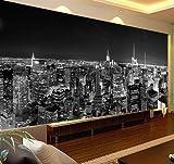 Wandbild leinwand Tapeten Black & White 3d Fototapete Nachtlandschaft New York City Benutzerdefinierte 3D Fototapete für Hintergrund Wohnzimmer-250 X 200CM
