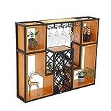 Wine Rack - Weinregal Wandbehang Schmiedeeisen Massivholz, Lagerung Display Stand Becher Becherhalter