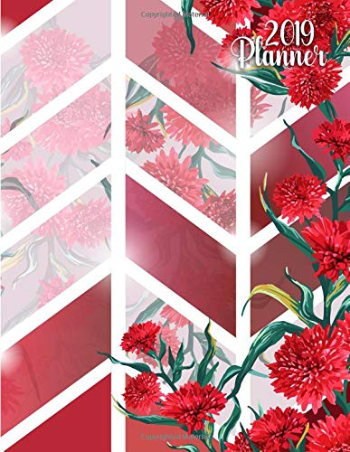 2019 Planner: Pretty red floral 2019 planner and organizer with weekly views, inspirational quotes, to-do lists, yearly overviews, funny holidays and more. (Floral Organizers) por Simple Planners