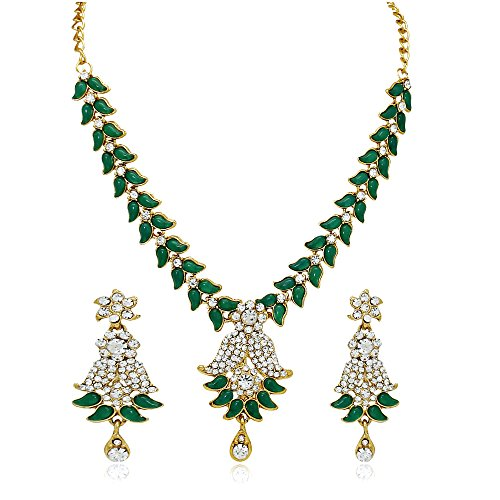 Atasi International Green Rhinestone Pendant Necklace & Earrings Set For Women
