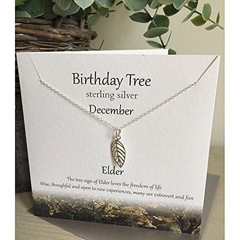 Compleanno in argento Sterling collana albero ----- dicembre ---- Vecchio presentato Effectz Sterling