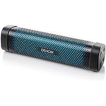Denon DSB100 - Altavoz portátil (Bluetooth, NFC, micrófono), color negro y azul