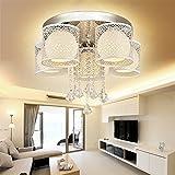 MCTECH® 36W Kristall Deckenleuchte Hängeleuchten Wohnzimmer 5 flammig Kristall LED E27 RGB Deckenlampe Wandlampe Hängelampe Luster Pendelleuchten Weiß (36W Warmweiß 5 flammig)