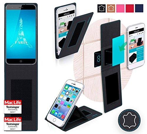 reboon Hülle für Ulefone Paris X Tasche Cover Case Bumper | Schwarz Leder | Testsieger