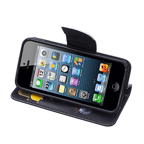 HB-Int 3in1 Flip PU Hülle für iPhone 5C Wallet Case Book Style Angry Bär Lederhülle Standfunktion Handytasche Brieftasche Kartenfächer Folio Wallet Shell Knopf Schutzhülle Magnetverschluss Rundum Klap Bär