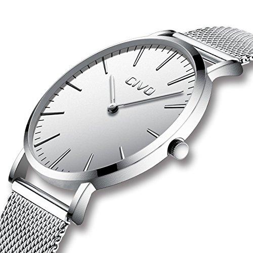 CIVO Herrenuhr Herren Damen Unisex Uhren Ultra Dünne Minimalistische mit Edelstahl Mesh Armband Wasserdicht Luxus Mode Armbanduhr Elegant Geschäfts Beiläufig Quarz Uhren (5 Silber)