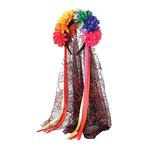 AWAYTR Halloween Blume Krone Festival Kopfschmuck - Tag des toten Schleiers Blume Stirnband Halloween Schleier Gothic Kopfbedeckungen Kostüm Party Festival Haargirlande (Mehrfarbig) -