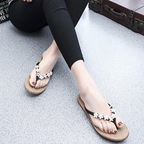 Ouneed® Flip Flops Damen Erwachsene Zehentrenner , 2016 Frauen arbeiten Sommer flachen Flip Flops Sandalen Slipper Böhmen Schuhe Schwarz