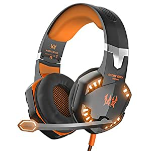 Gaming Headset VersionTech Over-Ear-Kopfhörer Ohrhörer Stereo Noise Isolation mit Mikrofon In-Line Lautstärkeregler und LED-Licht für PC-Computerspieler, Orange