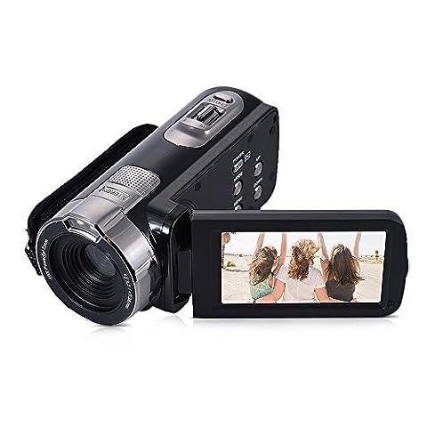 Andoer HDV - 302P 3.0 pouces LCD écran Full HD 1080P 15 FPS 24MP 16 X Zoom numérique DV vidéo numérique anti-tremblement télécommande obturateur
