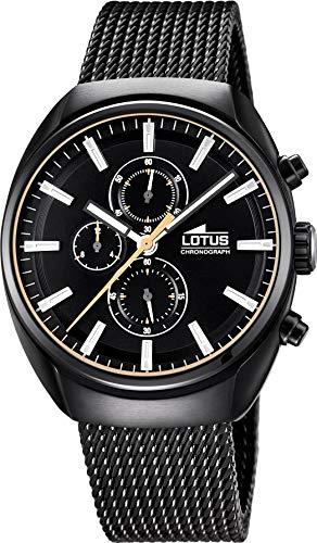 Lotus Reloj Cronógrafo para Hombre de Cuarzo con Correa en Acero Inoxidable 18567/B, Negro