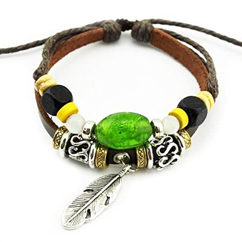 Real Spark(TM) Men Women Handmade Tribal Green Beads Feather Charms Leather Wrap Bracelet by Real