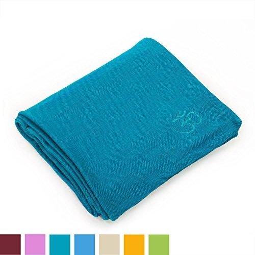 Yogadecke SHAVASANA,100% Baumwolle, mit OM-Stick grob gewebt & robust, Tagesdecke, Kuscheldecke (petrol) (Om Tagesdecke)