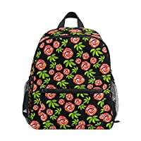 Small School Bag Vintage Rose Flower Pattern Backpack for Girl Boy Children Mini Travel Daypack Primary Preschool Student Bookbag