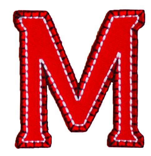 M 9cm ABC rot blau Stoff Patch Namen Buchstaben Aufbügler zum Aufbügeln auf Halstuch Decke...