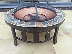 2015 gladiator tuscany garden patio fire pit round slate for Amazon prime fire pit