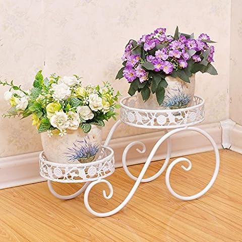 $Töpfe Pflanz Iron Flower Pot Rack, 2 Tiered Plant Display Stand Bonsai Halter Haus Garten Patio Decor Regal hält weiß / schwarz / Gold ( Farbe : Weiß , größe : 38.5*21*20.5CM )