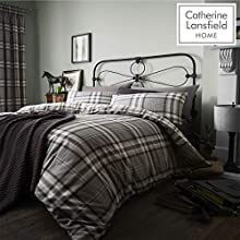 Catherine Lansfield Kelso Easy Care Double Duvet Set Charcoal