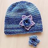 Cappello fatto a uncinetto, con fiore. Cappello invernale da donna, in lana merino, fatto a mano. Cappello in sfumatura