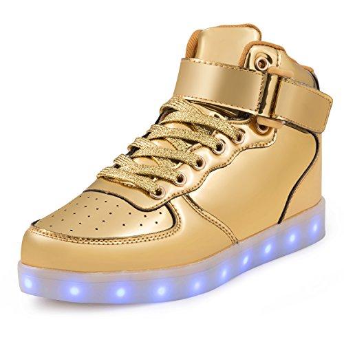 SAGUARO® Leuchtende Kinderschuhe 7 Farben LED Schuhe USB Aufladen Leuchtschuhe Mädchen Jungen Blinkschuhe Licht Sportschuhe Turnschuhe Sneaker, Gold 28 (Gold-highlights Led)
