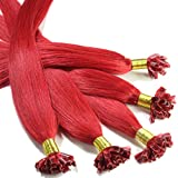 hair2heart 100 x Bonding Extensions aus Echthaar, 30cm, 0,5g Strähnen, glatt - Farbe rot