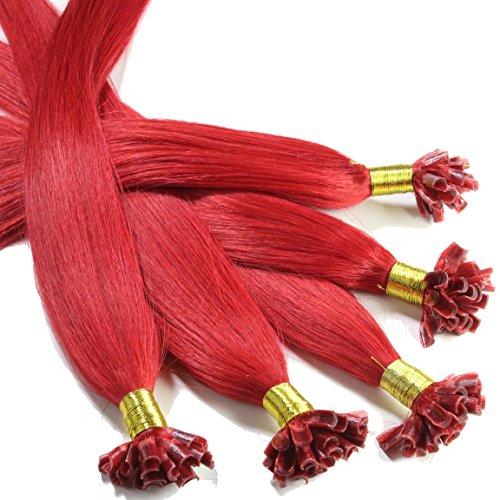Just Beautiful Hair and Cosmetics Lot de 100 extensions de cheveux naturels Remy Hair avec points de kératine pour pose à chaud Rouge 60 cm