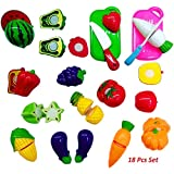 Shanaya Toys 18 Pcs Realistic Sliceable Fruits And Vegetables Cutting Play Kitchen Set Toy With Various Fruits,Vegetables,Knives And Cutting Boards For Kids,Multi Color.