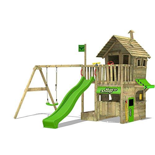 FATMOOSE Kletterturm RebelRacer Super XXL Spielturm Baumhaus Spielgerät Garten mit Rutsche und Schaukel, apfelgrüne Rutsche