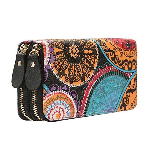 Geldtasche Damen Reißverschluss Brieftaschen - Geldbörse groß Kapazität Canvas Geldbeutel Tasche Damen Portemonnaie (Orange)