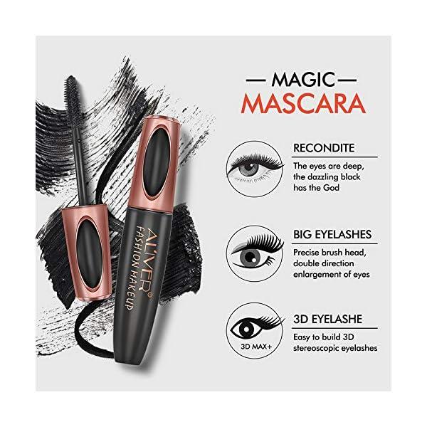 Máscara de pestañas de fibra de seda 4D, resistente al agua y de larga duración, lavable en agua caliente, color negro