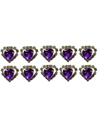 Jewellery of Lords 10 Purple Heart Shaped Large Coloured Crystal Hair Pin with Clear Mounted Crystals Hairpin