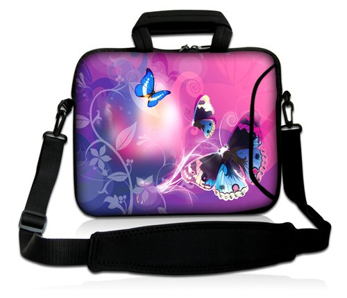 Luxburg® Design Laptoptasche Notebooktasche Sleeve mit Schultergurt und Fach für 15,6 Zoll, Motiv: Schmetterlinge im rosa Licht