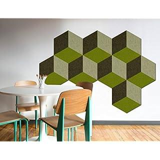 FrankenArt Akustikschaumstoff 3D PolySound Akustik Schaumstoffe aus Basotect® WollFilz Stoff - kaschiert in Hexagon-Form mit 3D Muster Größe L - Durchmesser Ø45cm Dicke: 3cm in Sattgrün